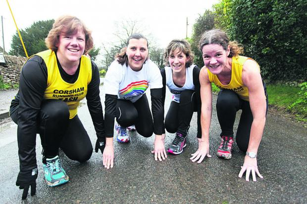 This Is Wiltshire: Marathon mums Tash Wilkinson, Sue Deane, Lucy Burley and Sheila Stansfield