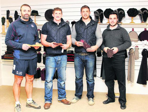 This Is Wiltshire: From left, Danny Grewcock, Stuart Hooper, Dave Attwood and Geoff Binding, were given a pair of leather gloves each on their recent visit to Dents glovemakers in Warminster