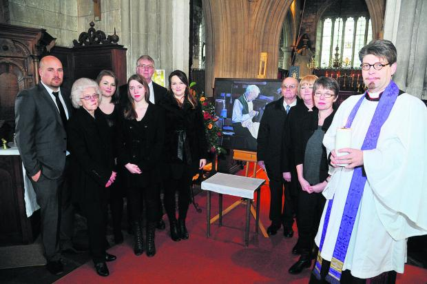 This Is Wiltshire: The remembrance service for Mervyn Penny at St Andrew's Church, Shrivenham. From left, Jamie Quinton, Margaret Penny, Vicky Reade, Hannah Penny, Mike Lenik, Rachel Reade, Michael Penny, Marion Reade, Therese Penny and the Rev Canon Richard Hancock