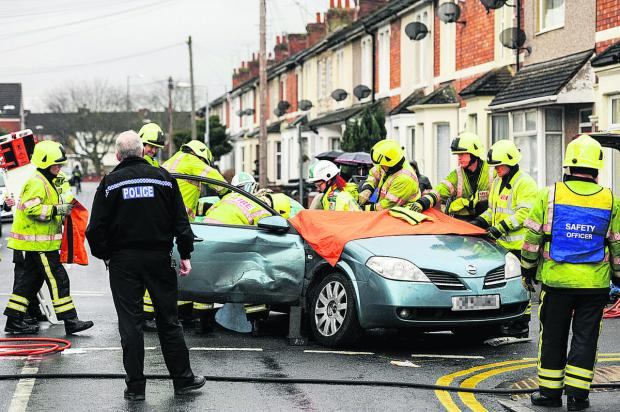 This Is Wiltshire: The crash at the junction of Bathurst Road and Rosebery Street