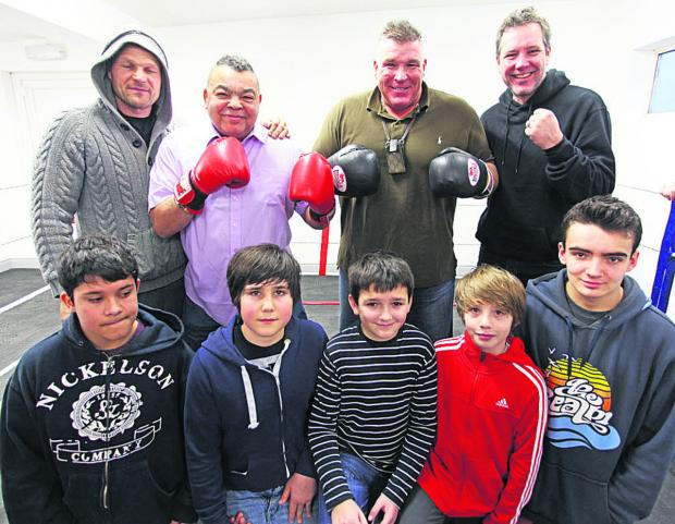 This Is Wiltshire: Boxing heroes Ricky Porter (back, second left) and Joe Egan (back, second right) visit Marlborough Amateur Boxing Club's Open Day at Elcot Lane