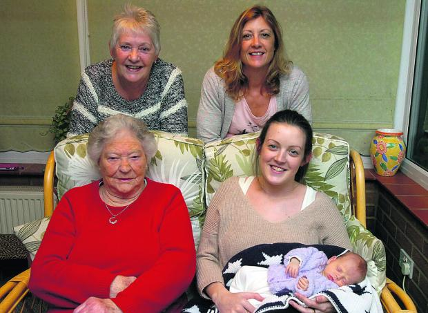 This Is Wiltshire: Great grandmother Doreen Edwards, back left, and grandmother Lucie Cook, back right. Front,  great great grandmother Margaret Alexander, mother Devon Moore with Joanna Moore born on January 3
