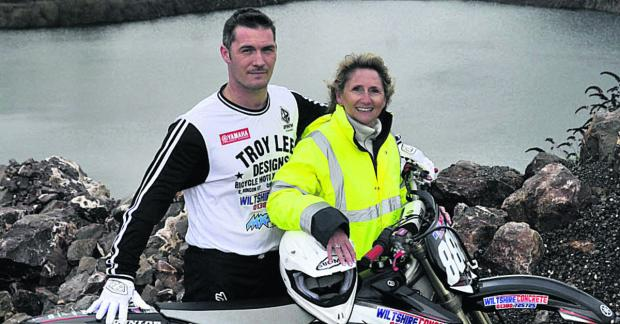 This Is Wiltshire: Melksham motocross rider Leon Ireland, pictured with Tracey McQuaid, of Wiltshire Concrete, who are sponsoring him