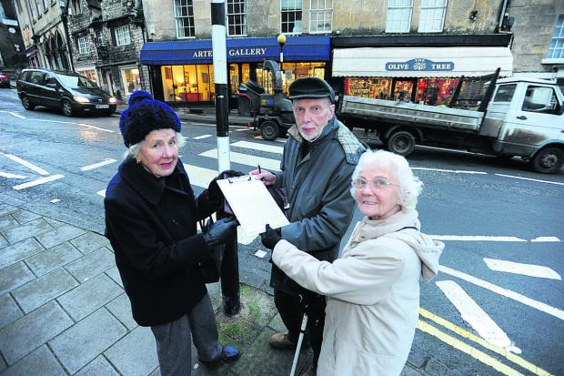 This Is Wiltshire: Concerned Bradford on Avon residents Belinda Shimwell, Godfrey Marks and partially sighted Alice Moody with the  petition to save the Market Street zebra crossing