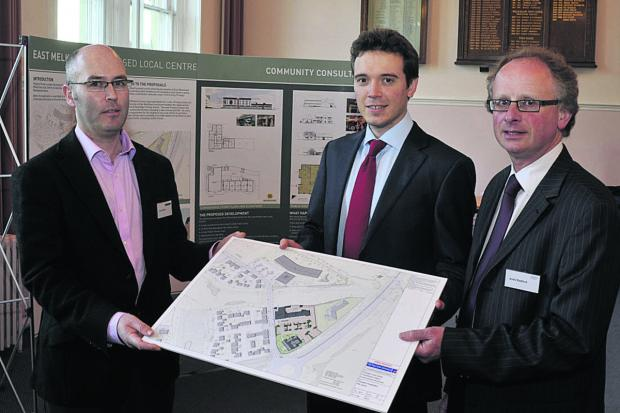 This Is Wiltshire: Colin Wood of Tetlow King, Peter Atkin of Pegasus and Andy Radford of Guildhall Estates,  at the East Melksham Local Centre consultation session