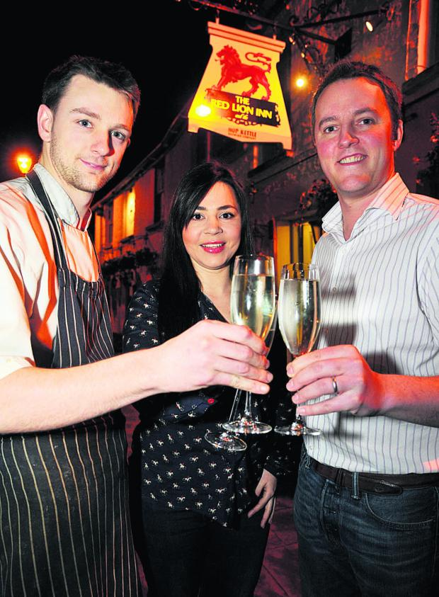 This Is Wiltshire: From left, Red Lion head chef Chris White, manager Fernanda Carval and owner Tom Gee. Picture: DAVE COX