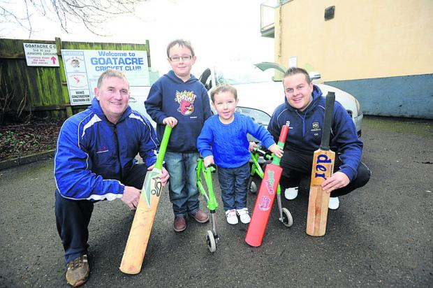 This Is Wiltshire: Groundsmen John Wilkins and Chris Chapman with Ollie Baker and his brother Joshua, six