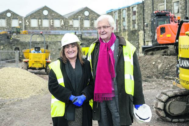 This Is Wiltshire: UTC principal Angela Barker-Dench and Lord Kenneth Baker, visiting the UTC site