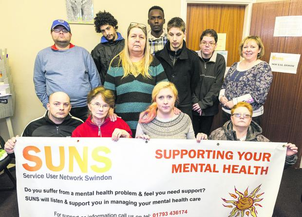This Is Wiltshire: Suns Mental Health charity. Pictured: Front, left to right, Ricki Chandler, June Stewart, Danielle Curtis, Tracey Kemp. Back, left to right, Richard Pike, Dominic Chandler, Ann Mooney, Rahim Moussa, Kegan Mooney, Louise Young and Stacey Lambert