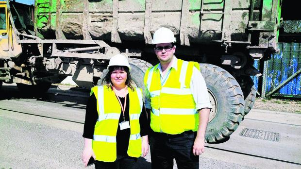 This Is Wiltshire: Priory Vale councillors Emma Faramarzi and Toby Elliott on a visit to the Chapel Farm site
