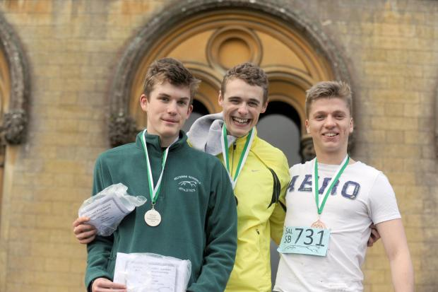 This Is Wiltshire: The top three in the senior boys event (l-r): Second-placed Ciaran Cooper from New College Swindon, first-placed Alex Carter of St Laurence School and third-placed Ben Complin from Bishop Wordsworth, Salisbury