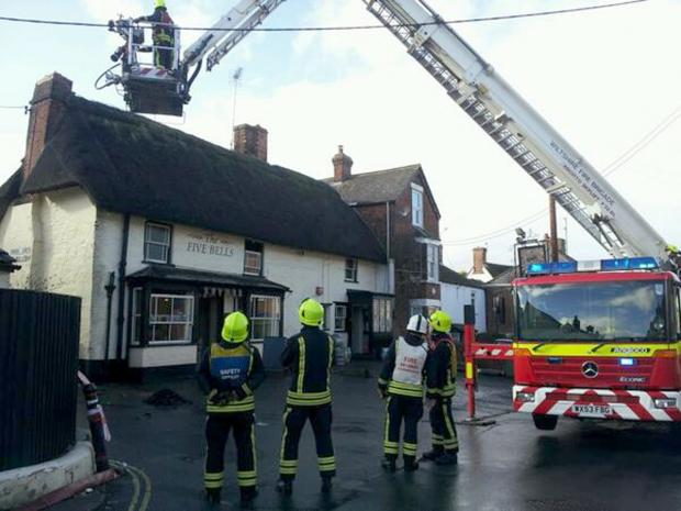 This Is Wiltshire: Fire crews have the fire at the Five Bells under control