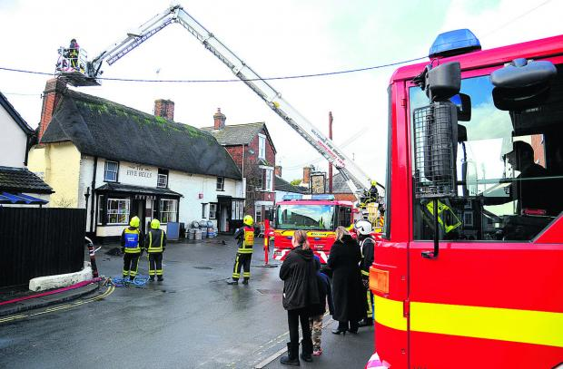 This Is Wiltshire: The fire at the Five Bells, in Wood Street, Royal Wootton Bassett