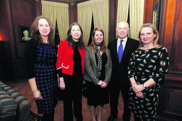This Is Wiltshire: Iain Duncan Smith with, from left, Recruit for Spouses director Suzie Richards, Conservative candidate Michelle Donelan, Recruit founder Heledd Kendrick and fellow director Jo Kitchin