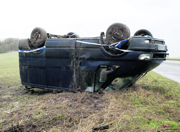 This Is Wiltshire: The van came to rest on its roof