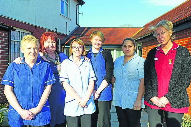 This Is Wiltshire: Orchard Care Home staff Bridget Hall, Lesley Wood, Tina Curtis, Andie Church, Asia Osman and Tracy Handley