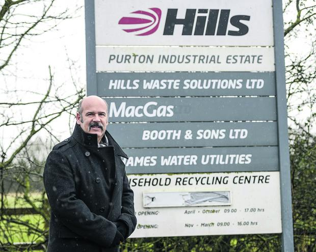 This Is Wiltshire: Richard Pagett outside Hills Waste Solutions, Purton, which is going to be given over to create a habitat for bees and insects in a joint operation with the Wildlife Trust