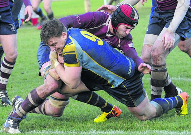This Is Wiltshire: There's no stopping Trowbridge scrum-half Kyle Knight as he ploughs over for his side's fourth try