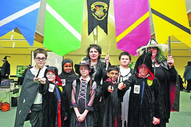 This Is Wiltshire: Pupils gather at Croft Primary School for a Harry Potter science day