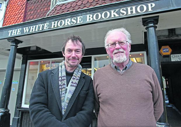 This Is Wiltshire: New manager Angus MacLennan with Michael Pooley, the outgoing owner of the White Horse Bookshop