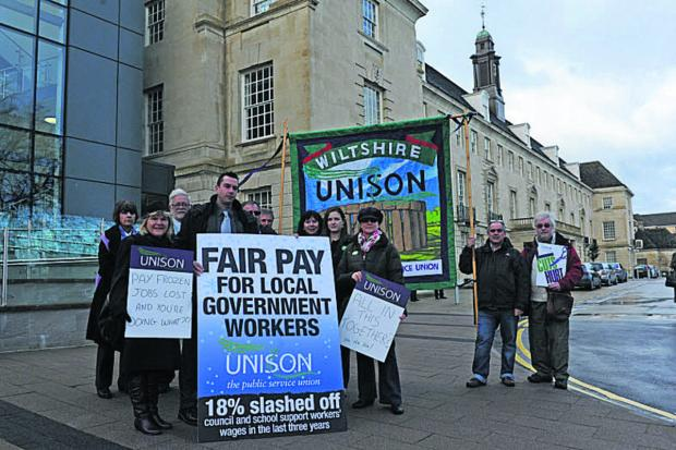 This Is Wiltshire: Unison members stage a protest at County Hall
