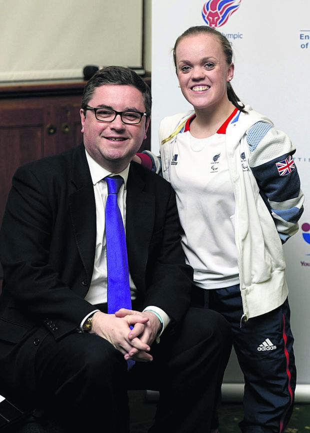 This Is Wiltshire: South Swindon MP Robert Buckland at the House of Commons launch of Active Kids For All with ambassador Ellie Simmonds