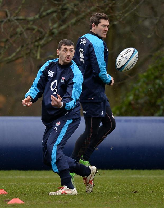 This Is Wiltshire: Jonny May (left) and Alex Goode during England's training session yesterday
