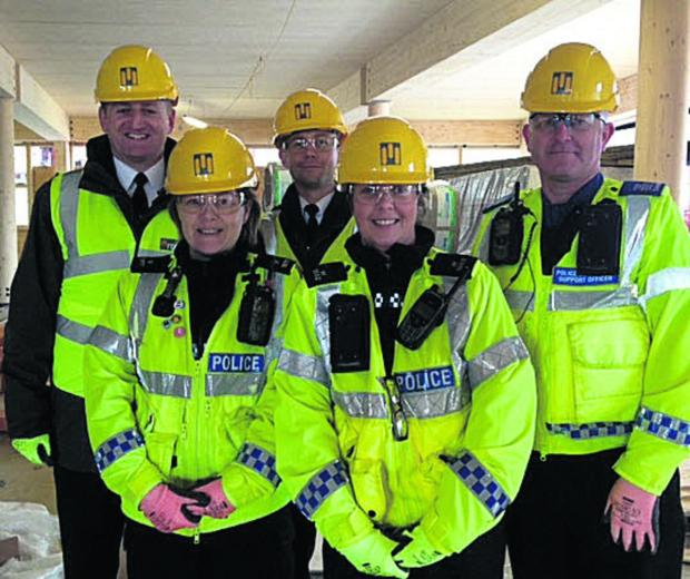 This Is Wiltshire: Corsham Neighbourhood Policing Team during a visit to the town's campus site