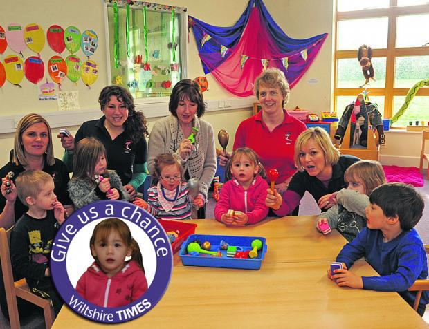 This Is Wiltshire: Stepping Stones staff Teresa Blake, Cally Pocock, manager Debbie Wickham, Jane Hammett and Amanda Bush and children enjoying a music session