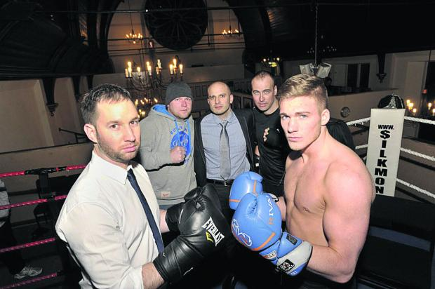 This Is Wiltshire: Local businessmen Tim Mason, Kev Arklen, Oliver Browning and Ben Ludwell fancy their chances against pro boxer Nick Blackwell, right, in charity 'white collar' matches at The White Horse Country Park, Westbury     Photo: Glenn Phillips (49112)