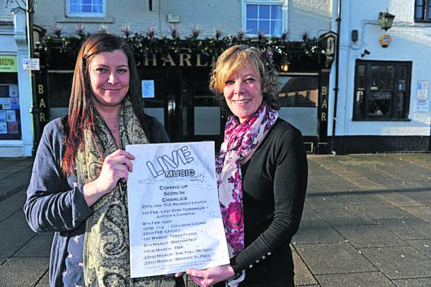 This Is Wiltshire: Laura Norris and Karen Mariette promoting music events at Charlie's Bar, in Market Place, Westbury                   (48220)