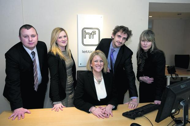 This Is Wiltshire: From left are property management manager Matthew Bowden, Joanna Sartain, director Laura Larkin, Gareth Collin and office manager Sally-Anne Gardener-Wollen