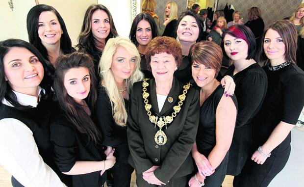 This Is Wiltshire: Janet Prictor, left, and Christine Lilley, back, third from right, with mayor Mercy Baggs and staff at the opening                                                                                                        (VS152) By vicky scipio