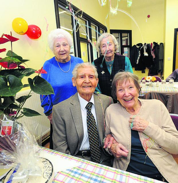 This Is Wiltshire: Dot Grange and Joy Scarlett celebrate with Salvador Moya with his wife Margaret