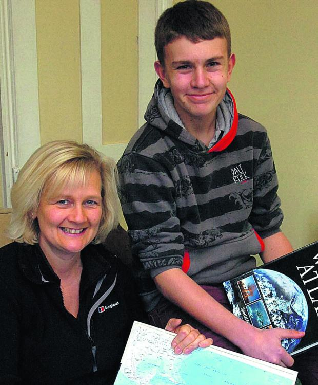 This Is Wiltshire: Sandra Mathias and son Owain Jennings, who hopes to go to Peru to carry out charity work in 2015