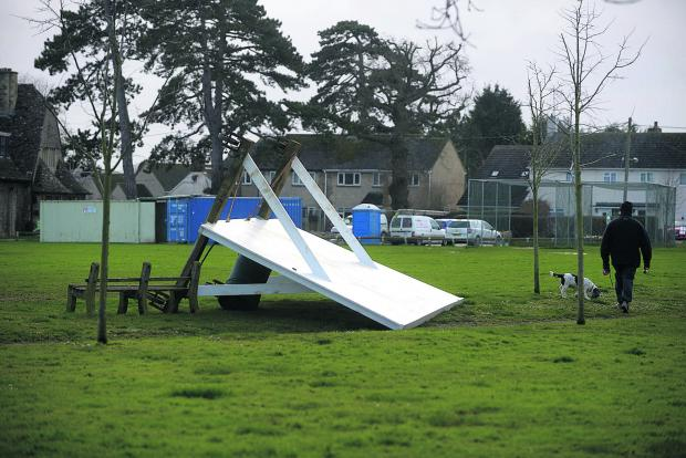 This Is Wiltshire: The Swindon area escaped the worst of the weather but high winds caused damage in Shrivenham