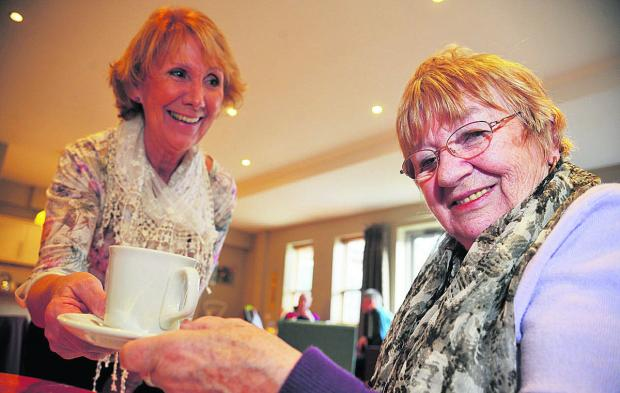 This Is Wiltshire: Patsy Brinkley and Anne Patten have a nice cup of tea at the hospice