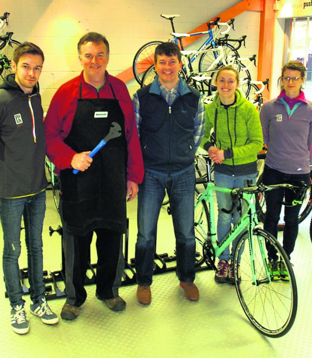 This Is Wiltshire: Push Active staff Dan Buckingham, Bruce Chappell, Paul Nichols, Lucy Scattergood and Anna Brooke at the new shop in Snuff Street
