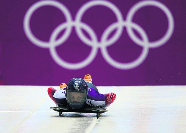 This Is Wiltshire: Shelley Rudman competes in the final training runs at the Sanki Sliding Centre today