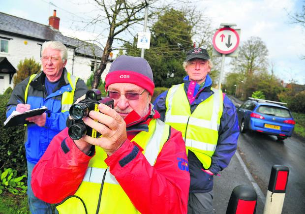 This Is Wiltshire: Martin Taylor, Barry Thunder and Des Fitzpatrick take part in the South Marston Community speed watch scheme