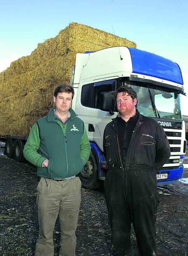 This Is Wiltshire: Charlton Park farm manager Robin Aird, left, with James Hazell, who is driving the straw to Somerset