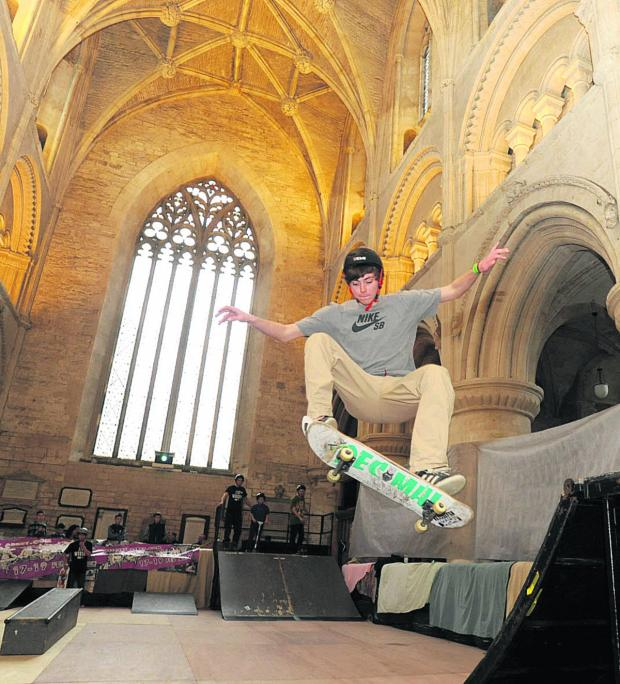 This Is Wiltshire: Jason Harwood at a previous Malmesbury Abbey skate park event