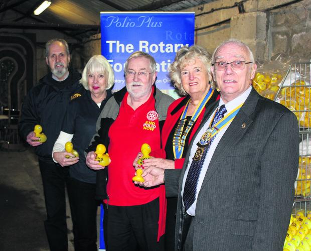 This Is Wiltshire: Richard Goddard, president of Swindon Thamesdown Rotary Club, Debbie Vincent, representative of District 1100 E Club, Jan Blankenstein, past president of Swindon Rotary Club, Melodie Beevers, president of Swindon Old Town Rotary Club and Peter Collis, pre