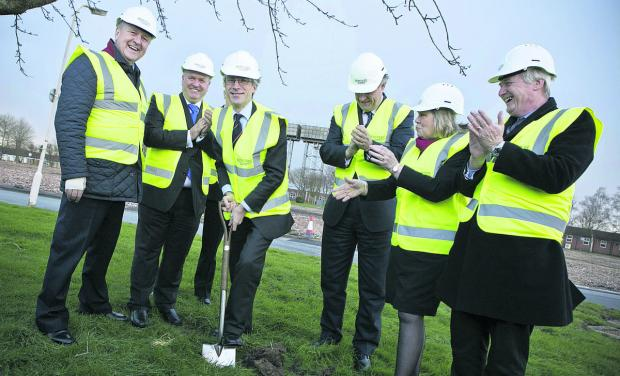 This Is Wiltshire: At the turf turning ceremony in Lyneham for the new MoD college are S