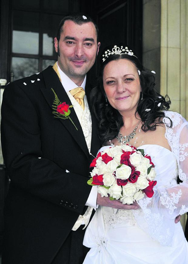 This Is Wiltshire: Lee and Clare True after their Valentine's Day wedding in Trowbridge