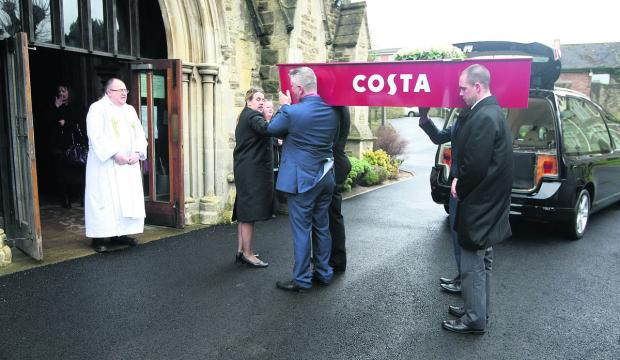 This Is Wiltshire: The customised Costa Coffee coffin carrying Karen Lloyd's body arrives at Christ Church