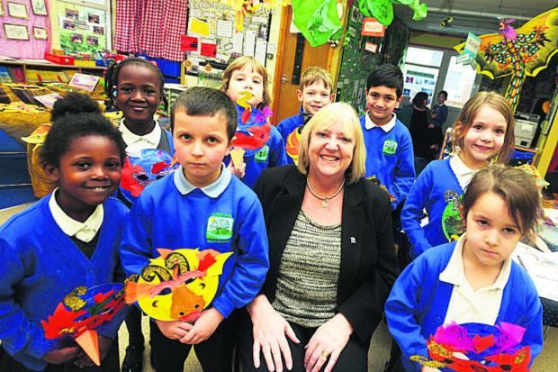 This Is Wiltshire: Colebrook Infant Academy headteacher Linda Rankin with pupils