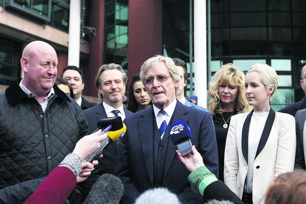 This Is Wiltshire: Coronation Street actor William Roache, centre, speaks to the media outside Preston Crown Court after being found not guilty of two counts of rape and four indecent assaults