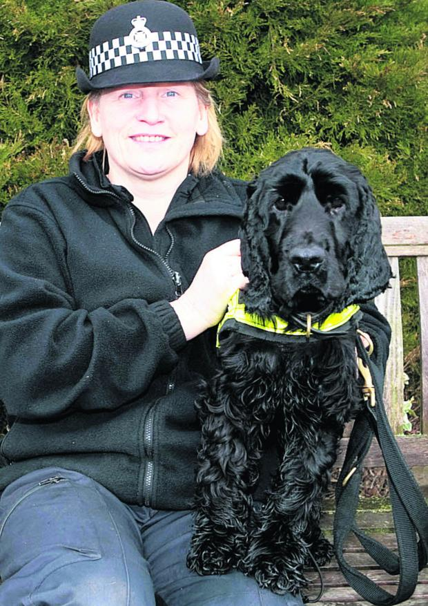 This Is Wiltshire: PC Marie Poole with Wiltshire Police drug sniffer dog Griffin