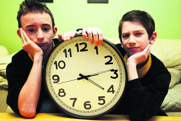 This Is Wiltshire: Pupils James and Angelos who face having 15 minutes chopped off their lunch breaks. Picture: THOMAS KELSEY